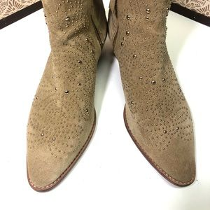 Zara Basic Collection suede studded booties.